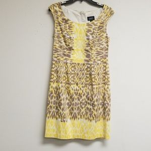 Adrianna Papell Yellow and Tan Dress Size 8